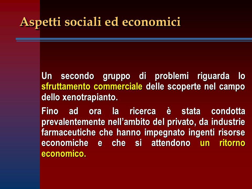 Aspetti sociali ed economici Un secondo gruppo di problemi riguarda lo sfruttamento commerciale delle scoperte nel campo dello xenotrapianto. Fino ad