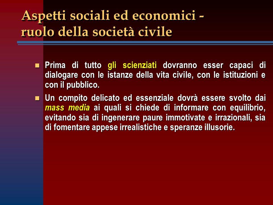 Aspetti sociali ed economici - ruolo della società civile n Prima di tutto gli scienziati dovranno esser capaci di dialogare con le istanze della vita