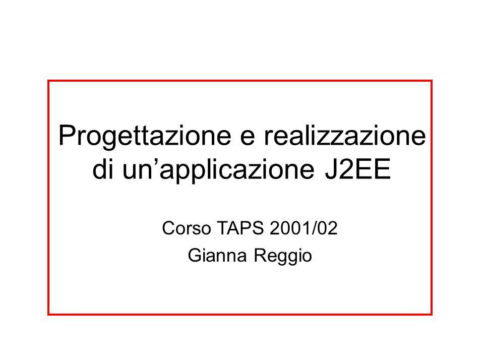 Progettazione e realizzazione di un'applicazione J2EE Corso TAPS 2001/02 Gianna Reggio