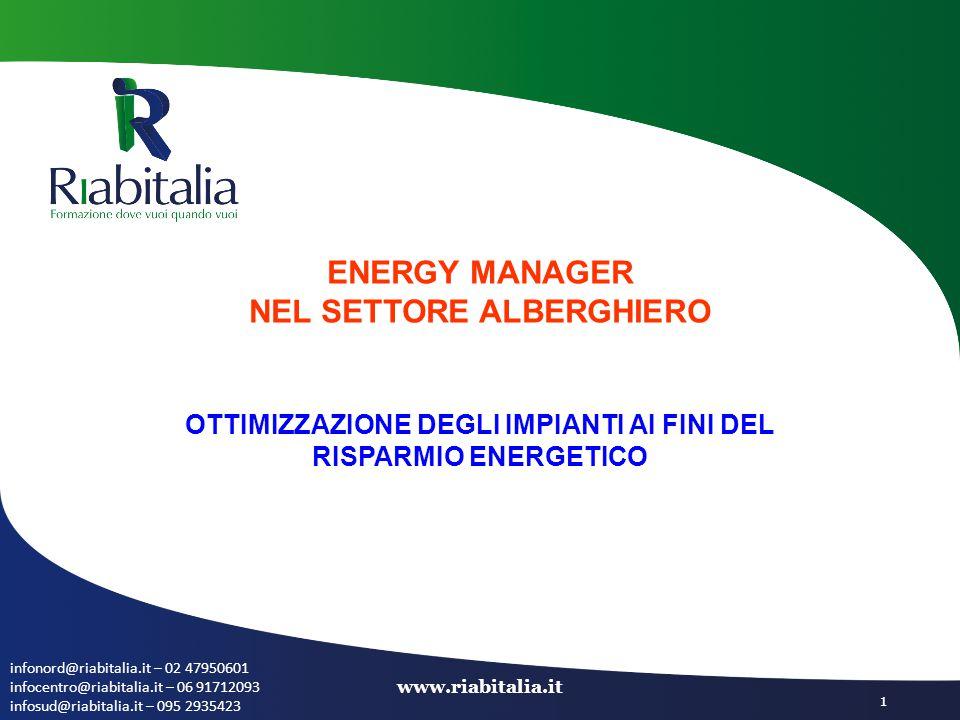 infonord@riabitalia.it – 02 47950601 infocentro@riabitalia.it – 06 91712093 infosud@riabitalia.it – 095 2935423 www.riabitalia.it 1 ENERGY MANAGER NEL SETTORE ALBERGHIERO OTTIMIZZAZIONE DEGLI IMPIANTI AI FINI DEL RISPARMIO ENERGETICO