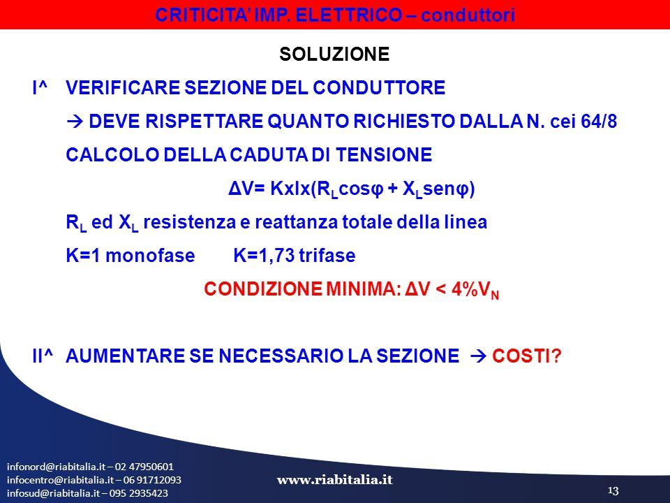 infonord@riabitalia.it – 02 47950601 infocentro@riabitalia.it – 06 91712093 infosud@riabitalia.it – 095 2935423 www.riabitalia.it 13 SOLUZIONE I^ VERIFICARE SEZIONE DEL CONDUTTORE  DEVE RISPETTARE QUANTO RICHIESTO DALLA N.