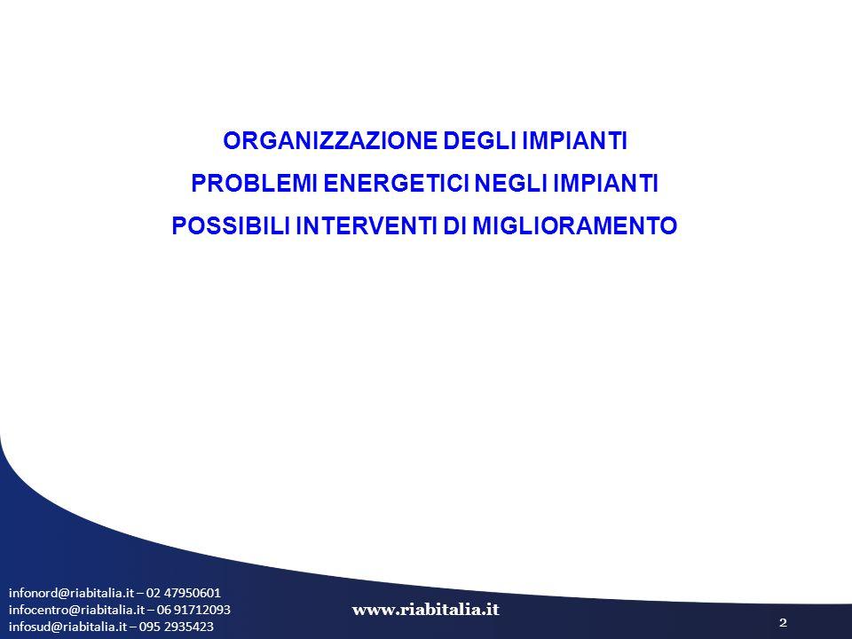 infonord@riabitalia.it – 02 47950601 infocentro@riabitalia.it – 06 91712093 infosud@riabitalia.it – 095 2935423 www.riabitalia.it 2 ORGANIZZAZIONE DEGLI IMPIANTI PROBLEMI ENERGETICI NEGLI IMPIANTI POSSIBILI INTERVENTI DI MIGLIORAMENTO