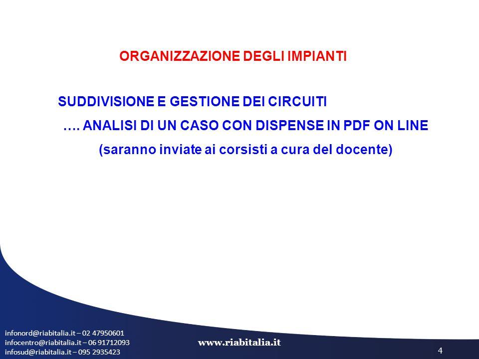 infonord@riabitalia.it – 02 47950601 infocentro@riabitalia.it – 06 91712093 infosud@riabitalia.it – 095 2935423 www.riabitalia.it 4 ORGANIZZAZIONE DEG