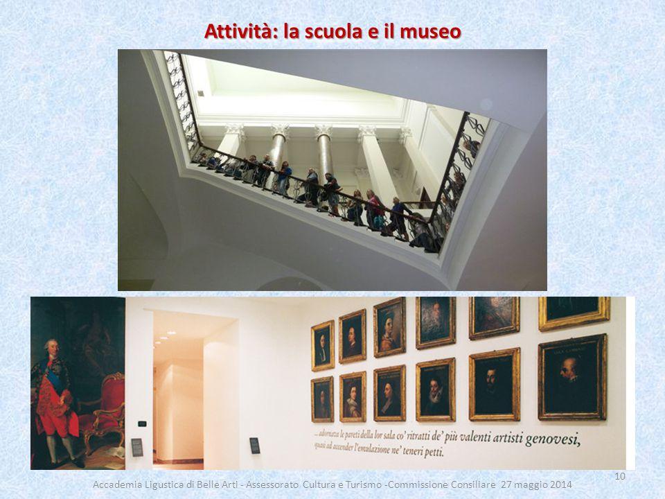 Attività: la scuola e il museo 10 Accademia Ligustica di Belle Arti - Assessorato Cultura e Turismo -Commissione Consiliare 27 maggio 2014