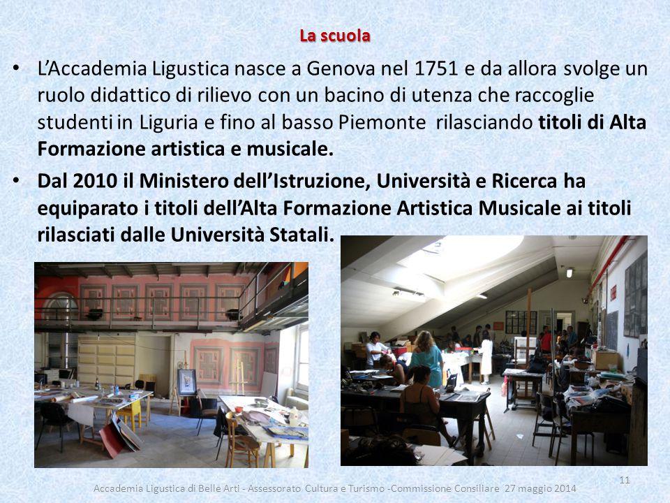 La scuola L'Accademia Ligustica nasce a Genova nel 1751 e da allora svolge un ruolo didattico di rilievo con un bacino di utenza che raccoglie studenti in Liguria e fino al basso Piemonte rilasciando titoli di Alta Formazione artistica e musicale.