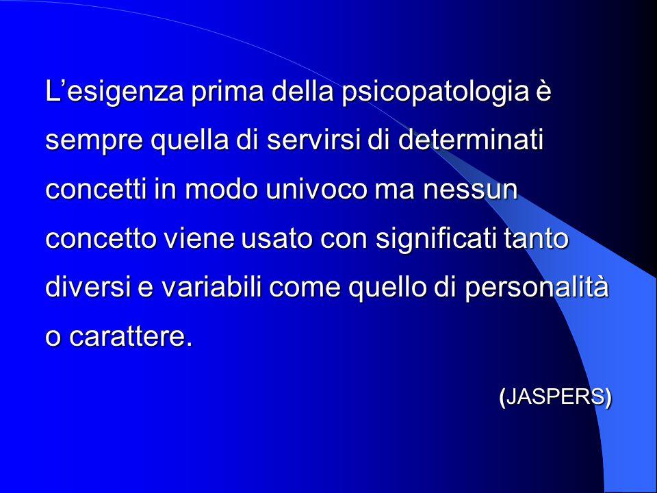 L'esigenza prima della psicopatologia è sempre quella di servirsi di determinati concetti in modo univoco ma nessun concetto viene usato con significa