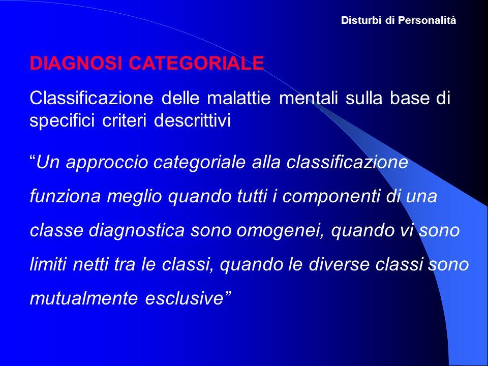 """DIAGNOSI CATEGORIALE Classificazione delle malattie mentali sulla base di specifici criteri descrittivi """"Un approccio categoriale alla classificazione"""