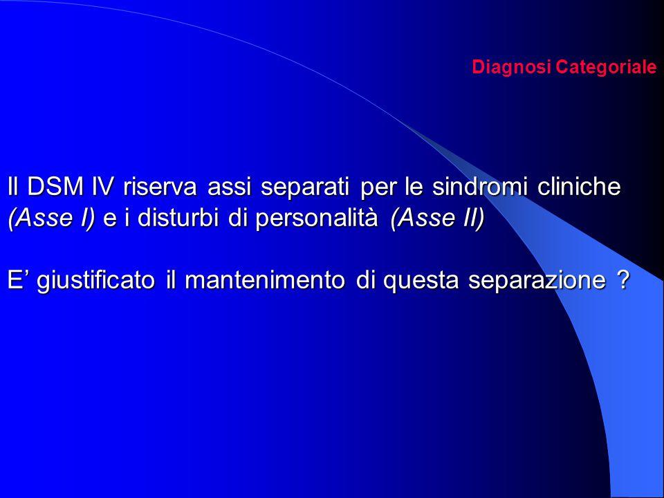 Il DSM IV riserva assi separati per le sindromi cliniche (Asse I) e i disturbi di personalità (Asse II) E' giustificato il mantenimento di questa sepa