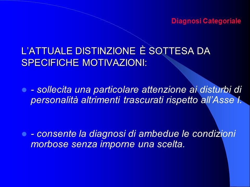L'ATTUALE DISTINZIONE È SOTTESA DA SPECIFICHE MOTIVAZIONI: Diagnosi Categoriale L'ATTUALE DISTINZIONE È SOTTESA DA SPECIFICHE MOTIVAZIONI: - sollecita