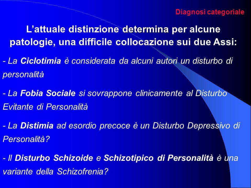 Diagnosi categoriale determina L'attuale distinzione determina per alcune patologie, una difficile collocazione sui due Assi: - La Ciclotimia è consid
