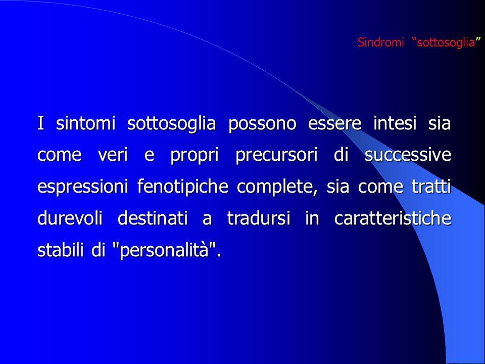 I sintomi sottosoglia possono essere intesi sia come veri e propri precursori di successive espressioni fenotipiche complete, sia come tratti durevoli