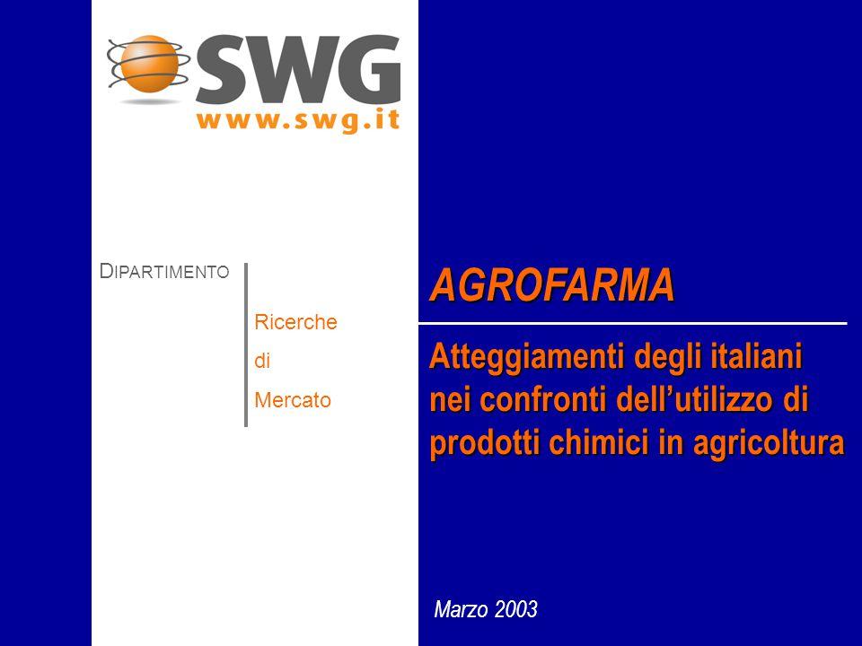 Marzo 2003 AGROFARMA Atteggiamenti degli italiani nei confronti dell'utilizzo di prodotti chimici in agricoltura D IPARTIMENTO Ricerche di Mercato