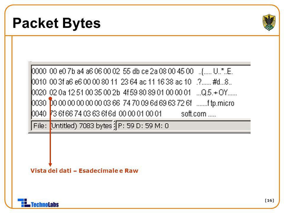 [16] Packet Bytes Vista dei dati – Esadecimale e Raw