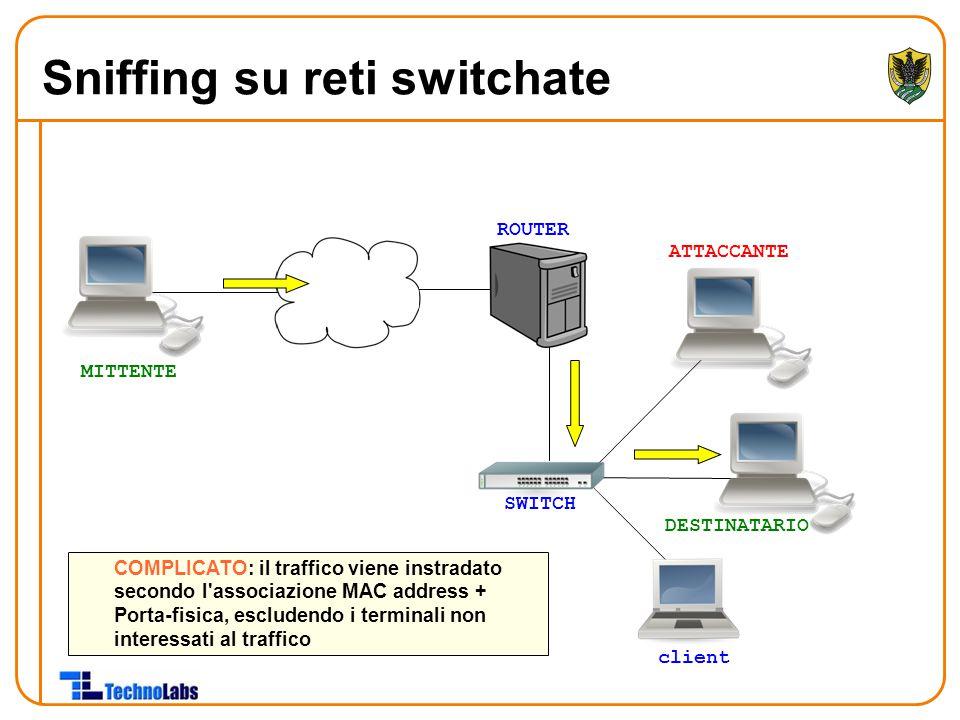 ROUTER ATTACCANTE DESTINATARIO client COMPLICATO: il traffico viene instradato secondo l'associazione MAC address + Porta-fisica, escludendo i termina