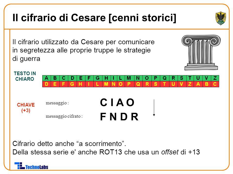 """Il cifrario utilizzato da Cesare per comunicare in segretezza alle proprie truppe le strategie di guerra Cifrario detto anche """"a scorrimento"""". Della s"""