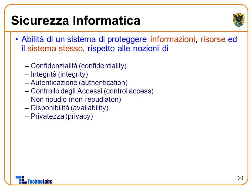 [3] Sicurezza Informatica Abilità di un sistema di proteggere informazioni, risorse ed il sistema stesso, rispetto alle nozioni di –Confidenzialità (c