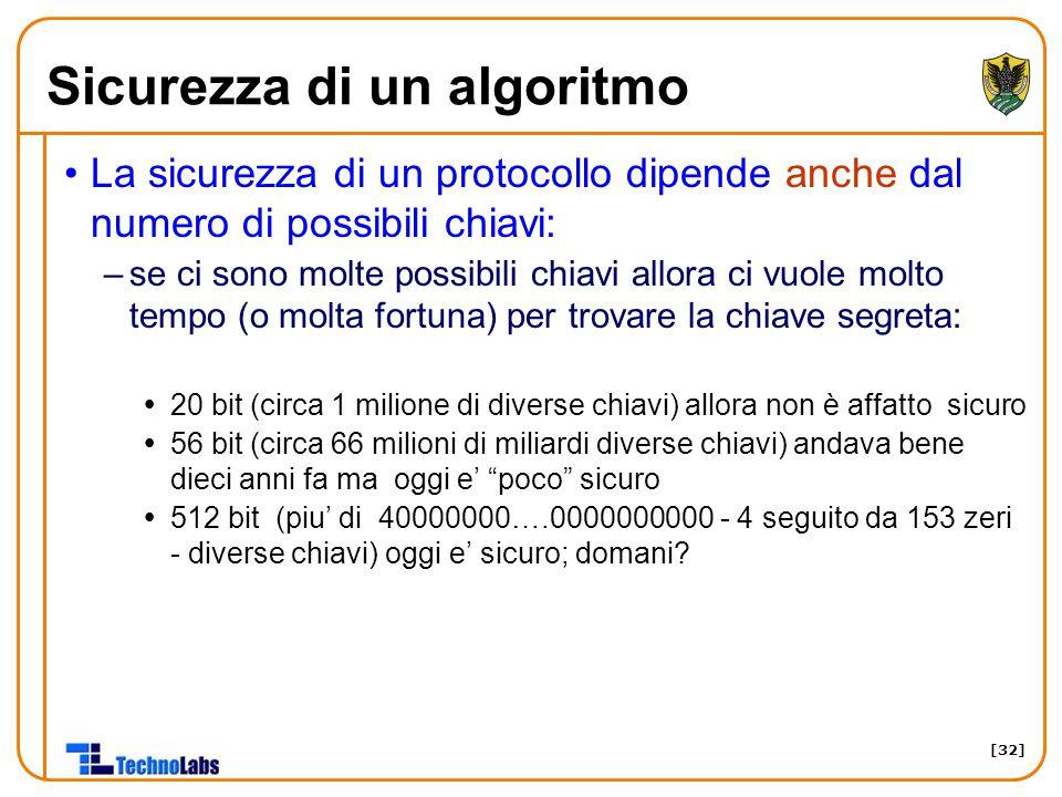 [32] Sicurezza di un algoritmo La sicurezza di un protocollo dipende anche dal numero di possibili chiavi: –se ci sono molte possibili chiavi allora c