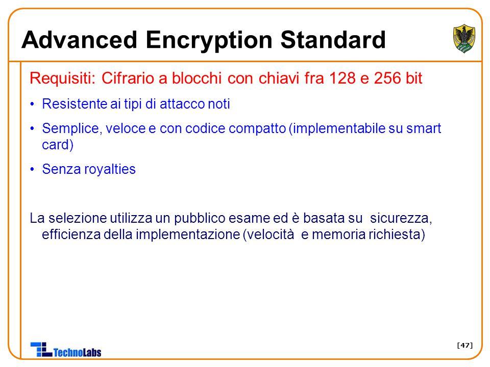 [47] Advanced Encryption Standard Requisiti: Cifrario a blocchi con chiavi fra 128 e 256 bit Resistente ai tipi di attacco noti Semplice, veloce e con