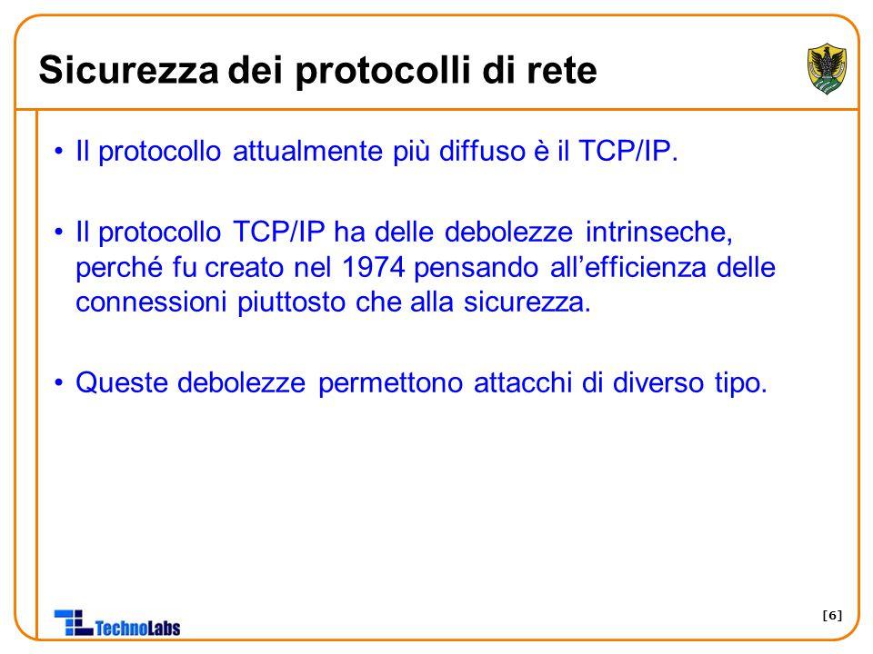 [6] Sicurezza dei protocolli di rete Il protocollo attualmente più diffuso è il TCP/IP. Il protocollo TCP/IP ha delle debolezze intrinseche, perché fu