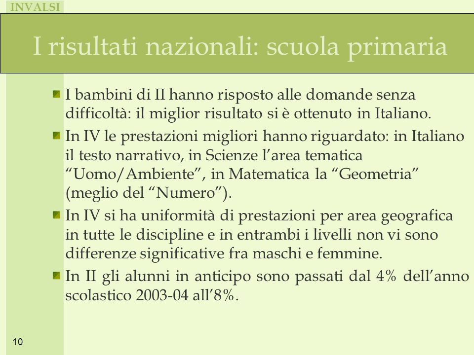 INVALSI 10 I risultati nazionali: scuola primaria I bambini di II hanno risposto alle domande senza difficoltà: il miglior risultato si è ottenuto in Italiano.