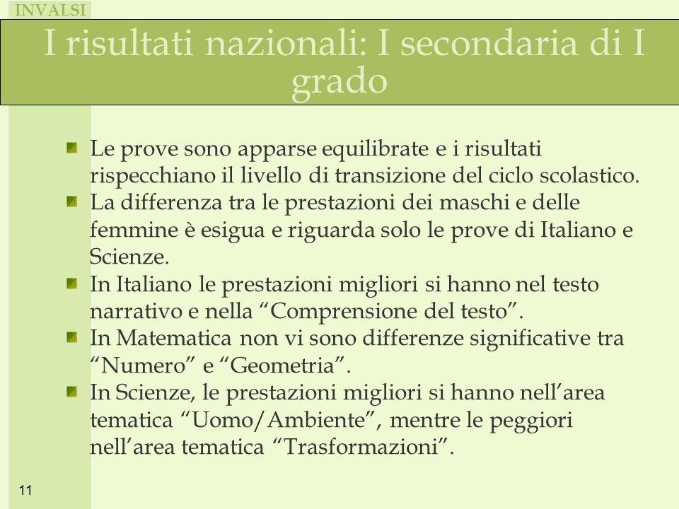 INVALSI 11 I risultati nazionali: I secondaria di I grado Le prove sono apparse equilibrate e i risultati rispecchiano il livello di transizione del ciclo scolastico.
