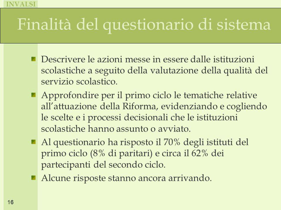 INVALSI 16 Finalità del questionario di sistema Descrivere le azioni messe in essere dalle istituzioni scolastiche a seguito della valutazione della qualità del servizio scolastico.