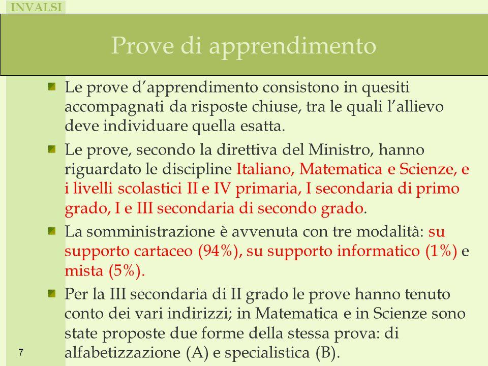 INVALSI 7 Prove di apprendimento Le prove d'apprendimento consistono in quesiti accompagnati da risposte chiuse, tra le quali l'allievo deve individuare quella esatta.