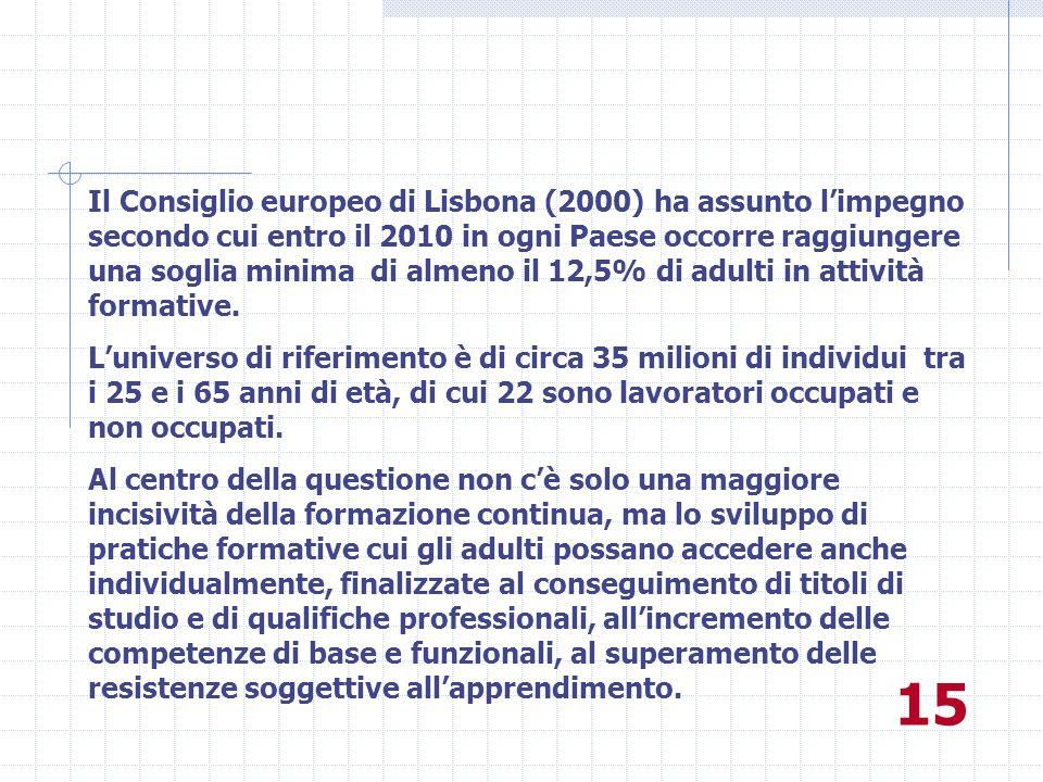 Il Consiglio europeo di Lisbona (2000) ha assunto l'impegno secondo cui entro il 2010 in ogni Paese occorre raggiungere una soglia minima di almeno il 12,5% di adulti in attività formative.