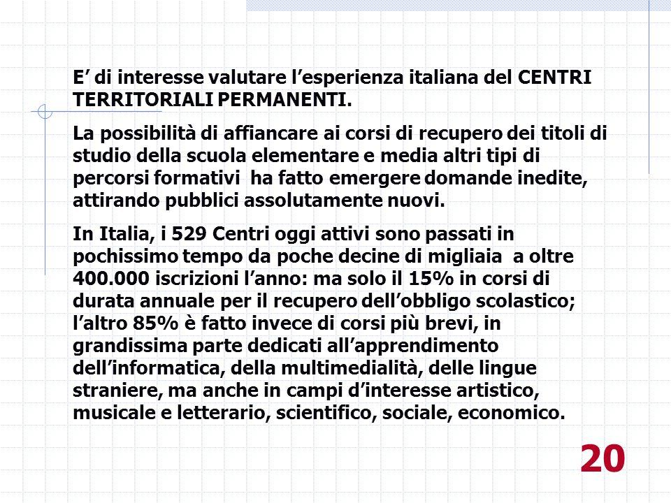 E' di interesse valutare l'esperienza italiana del CENTRI TERRITORIALI PERMANENTI.
