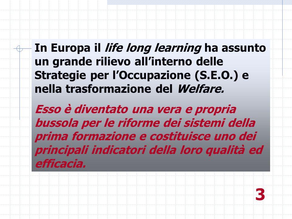 In Europa il life long learning ha assunto un grande rilievo all'interno delle Strategie per l'Occupazione (S.E.O.) e nella trasformazione del Welfare.