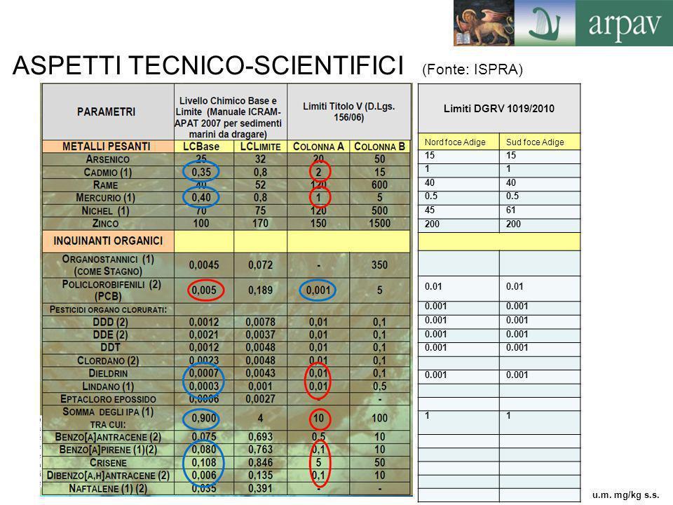ASPETTI TECNICO-SCIENTIFICI (Fonte: ISPRA) Limiti DGRV 1019/2010 Nord foce AdigeSud foce Adige 15 11 40 0.5 4561 200 0.01 0.001 11 u.m. mg/kg s.s.