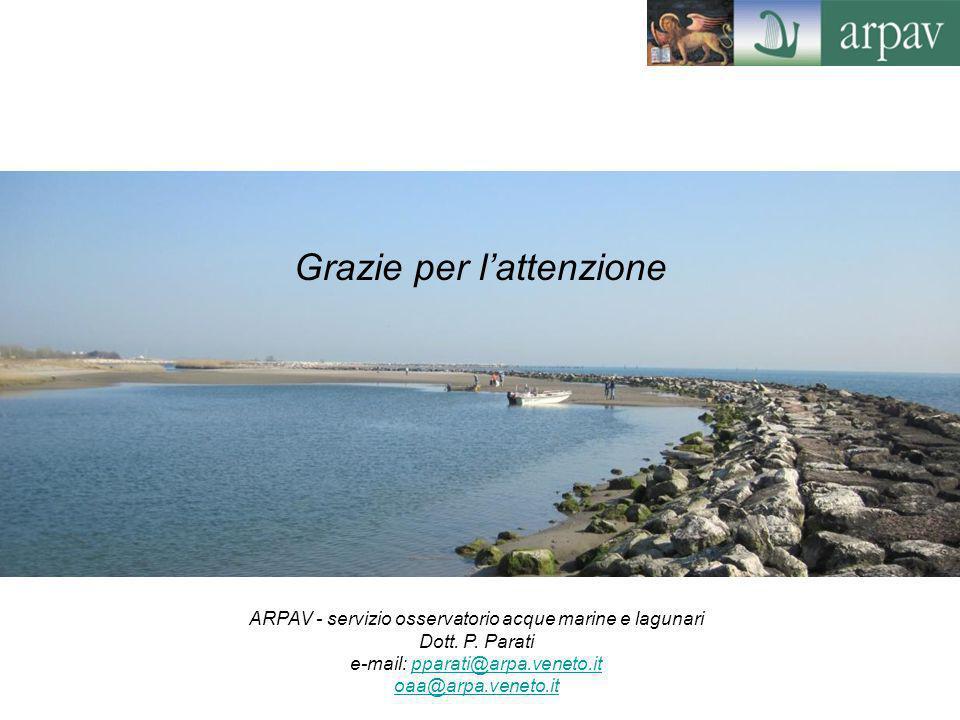 Grazie per l'attenzione ARPAV - servizio osservatorio acque marine e lagunari Dott. P. Parati e-mail: pparati@arpa.veneto.itpparati@arpa.veneto.it oaa
