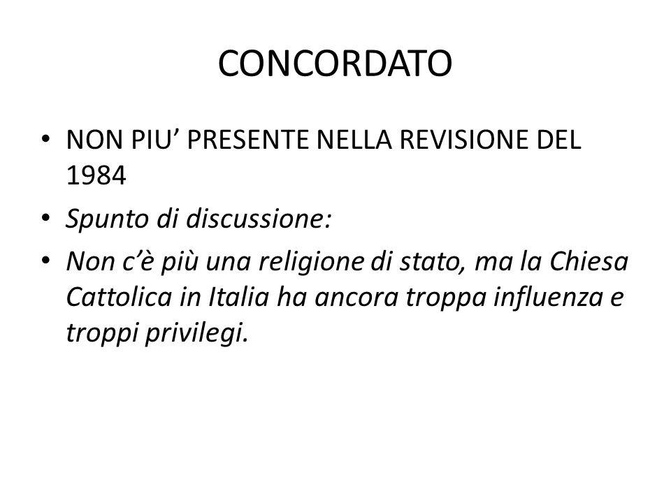 CONCORDATO NON PIU' PRESENTE NELLA REVISIONE DEL 1984 Spunto di discussione: Non c'è più una religione di stato, ma la Chiesa Cattolica in Italia ha ancora troppa influenza e troppi privilegi.