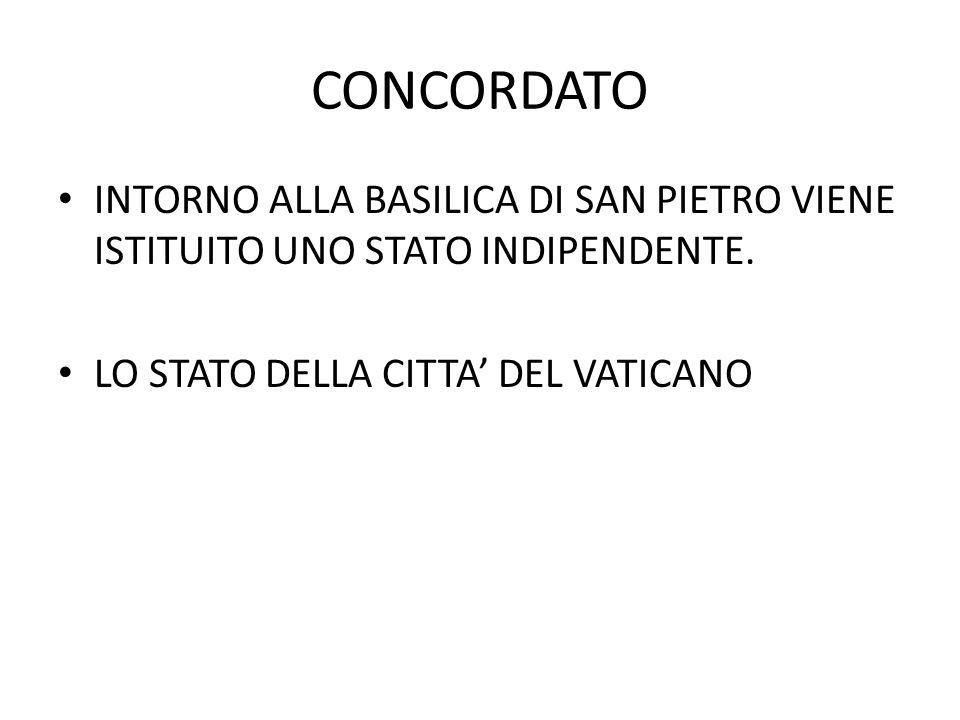 CONCORDATO INTORNO ALLA BASILICA DI SAN PIETRO VIENE ISTITUITO UNO STATO INDIPENDENTE.