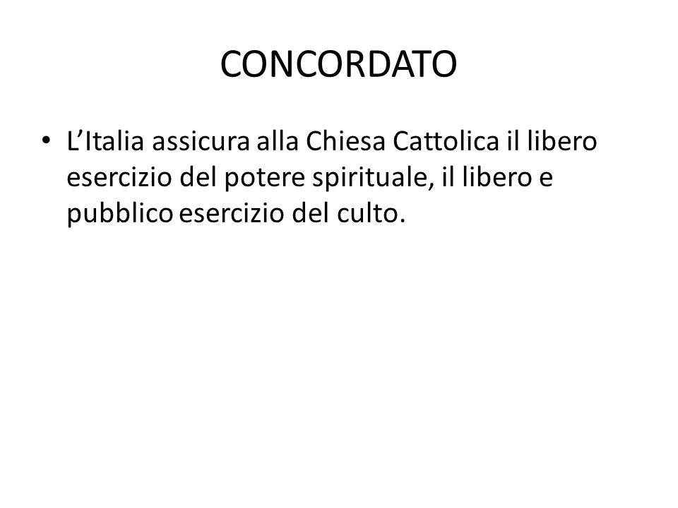 CONCORDATO L'Italia assicura alla Chiesa Cattolica il libero esercizio del potere spirituale, il libero e pubblico esercizio del culto.
