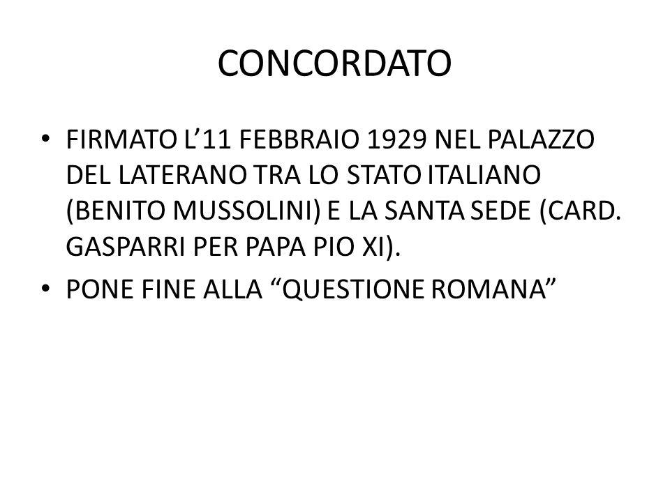 CONCORDATO FIRMATO L'11 FEBBRAIO 1929 NEL PALAZZO DEL LATERANO TRA LO STATO ITALIANO (BENITO MUSSOLINI) E LA SANTA SEDE (CARD.