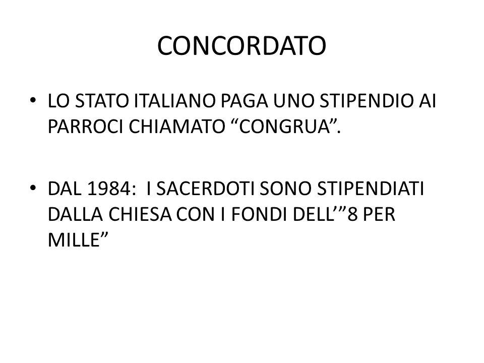 """CONCORDATO LO STATO ITALIANO PAGA UNO STIPENDIO AI PARROCI CHIAMATO """"CONGRUA"""". DAL 1984: I SACERDOTI SONO STIPENDIATI DALLA CHIESA CON I FONDI DELL'""""8"""
