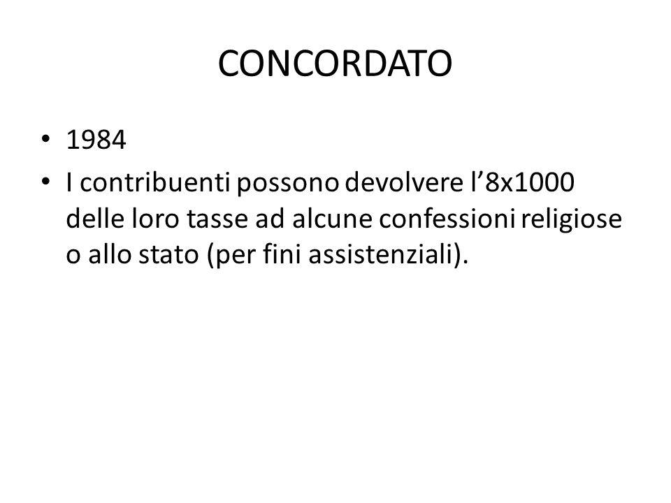 CONCORDATO 1984 I contribuenti possono devolvere l'8x1000 delle loro tasse ad alcune confessioni religiose o allo stato (per fini assistenziali).