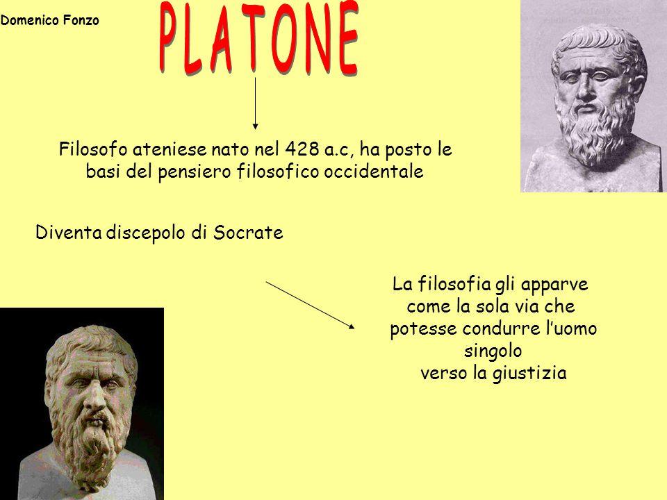 Diventa discepolo di Socrate Filosofo ateniese nato nel 428 a.c, ha posto le basi del pensiero filosofico occidentale La filosofia gli apparve come la sola via che potesse condurre l'uomo singolo verso la giustizia Domenico Fonzo