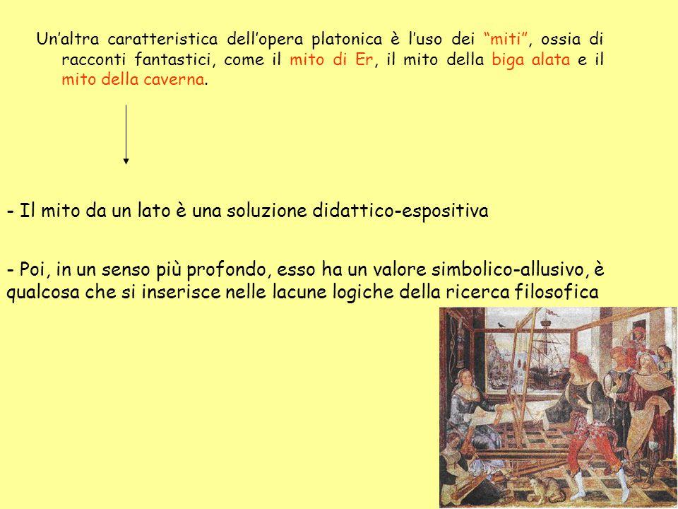 Un'altra caratteristica dell'opera platonica è l'uso dei miti , ossia di racconti fantastici, come il mito di Er, il mito della biga alata e il mito della caverna.