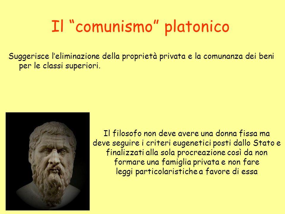 Il comunismo platonico Suggerisce l'eliminazione della proprietà privata e la comunanza dei beni per le classi superiori.