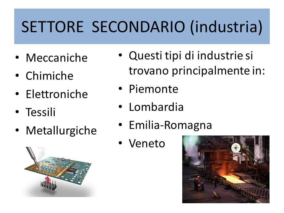 SETTORE SECONDARIO (industria) Meccaniche Chimiche Elettroniche Tessili Metallurgiche Questi tipi di industrie si trovano principalmente in: Piemonte Lombardia Emilia-Romagna Veneto