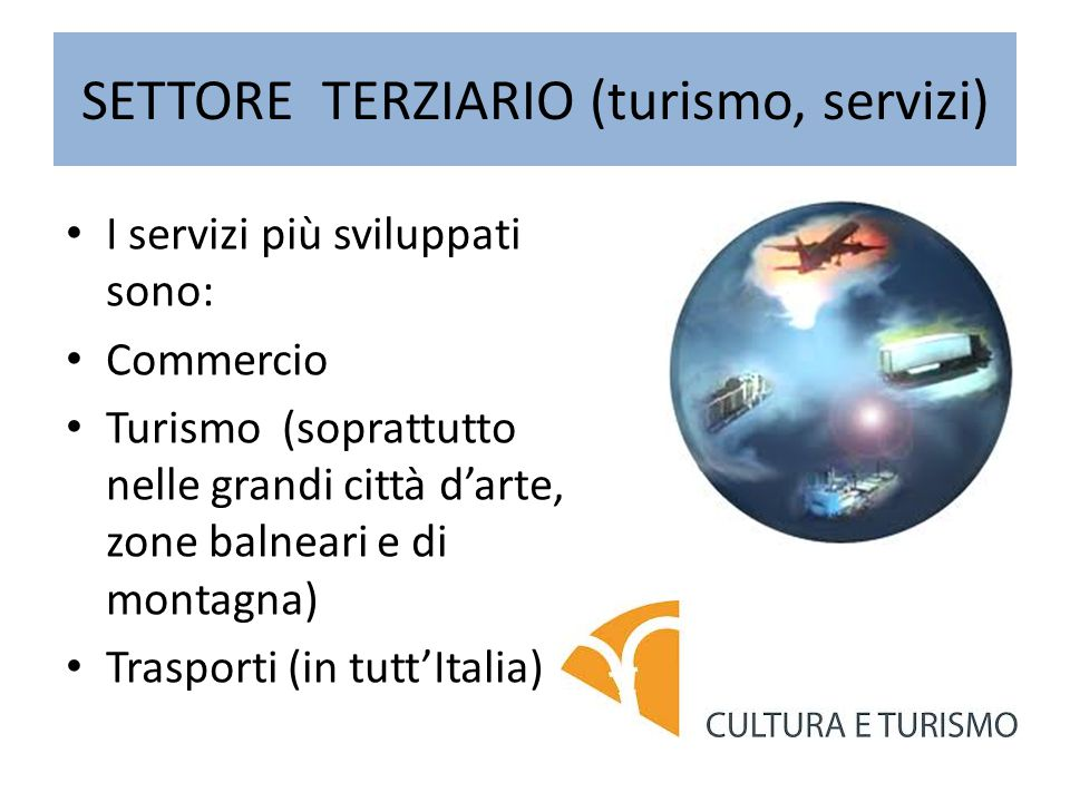 SETTORE TERZIARIO (turismo, servizi) I servizi più sviluppati sono: Commercio Turismo (soprattutto nelle grandi città d'arte, zone balneari e di montagna) Trasporti (in tutt'Italia)