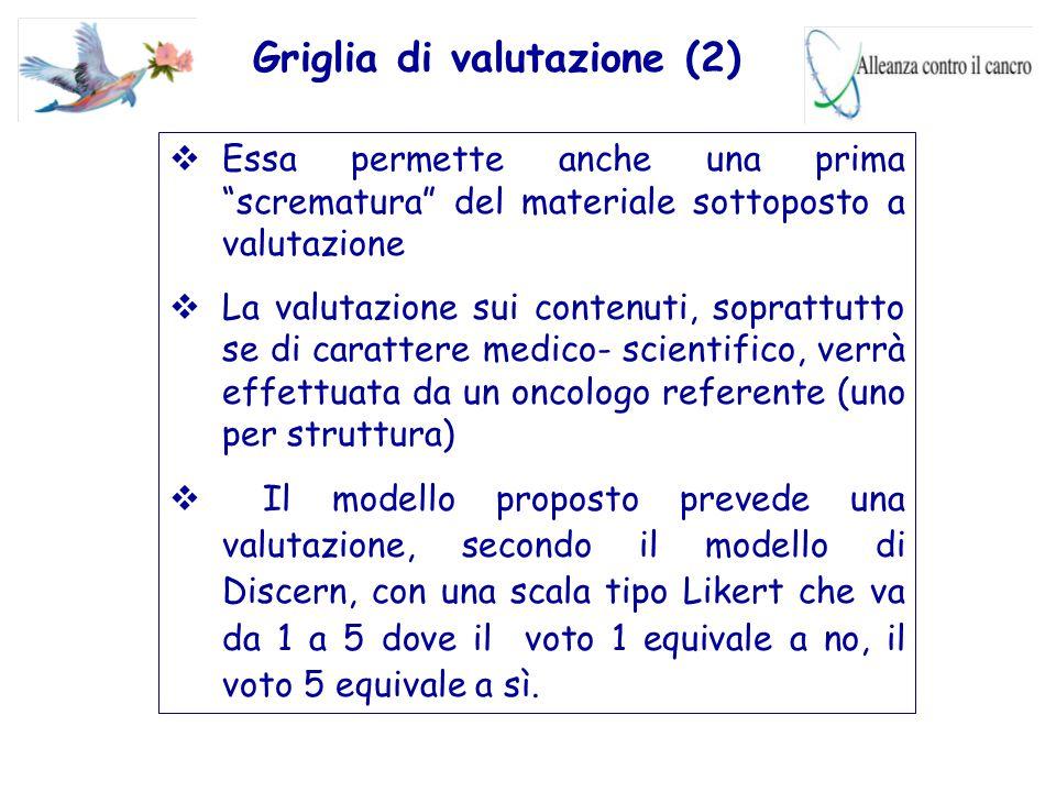 """Griglia di valutazione (2)  Essa permette anche una prima """"scrematura"""" del materiale sottoposto a valutazione  La valutazione sui contenuti, sopratt"""