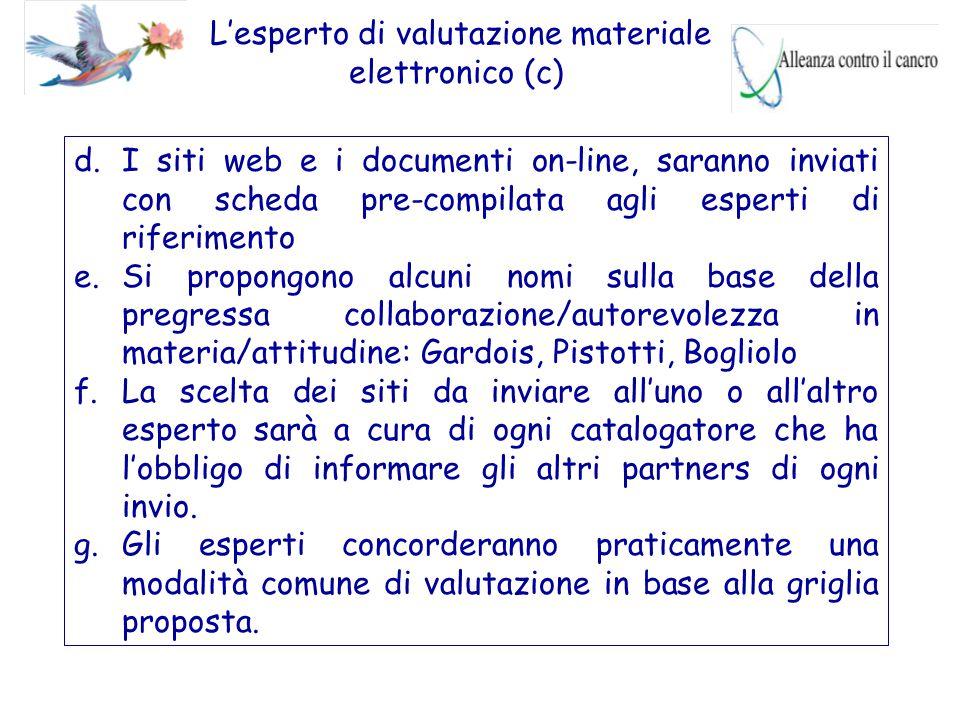 L'esperto di valutazione materiale elettronico (c) d.I siti web e i documenti on-line, saranno inviati con scheda pre-compilata agli esperti di riferi