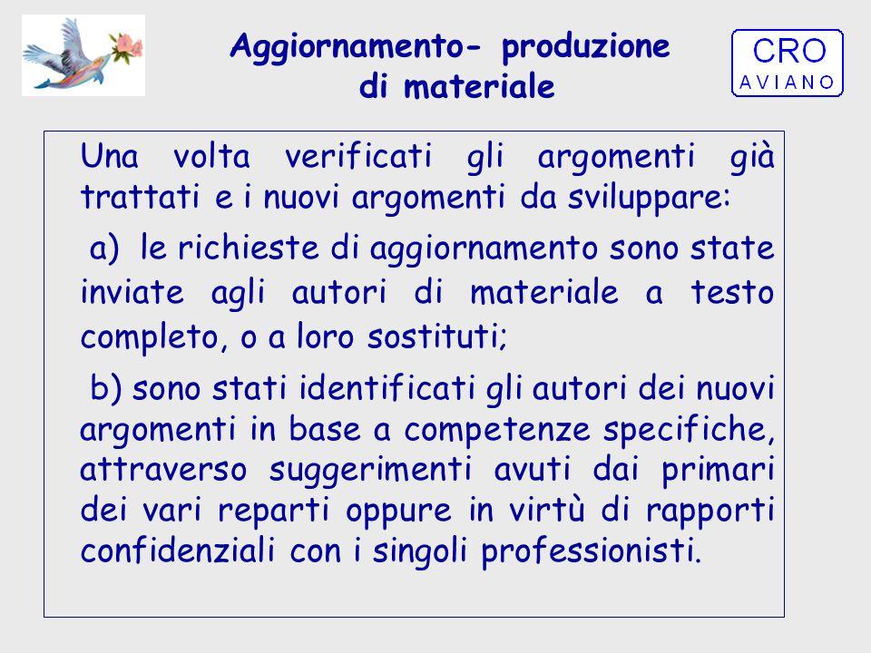 Aggiornamento- produzione di materiale Una volta verificati gli argomenti già trattati e i nuovi argomenti da sviluppare: a)le richieste di aggiorname