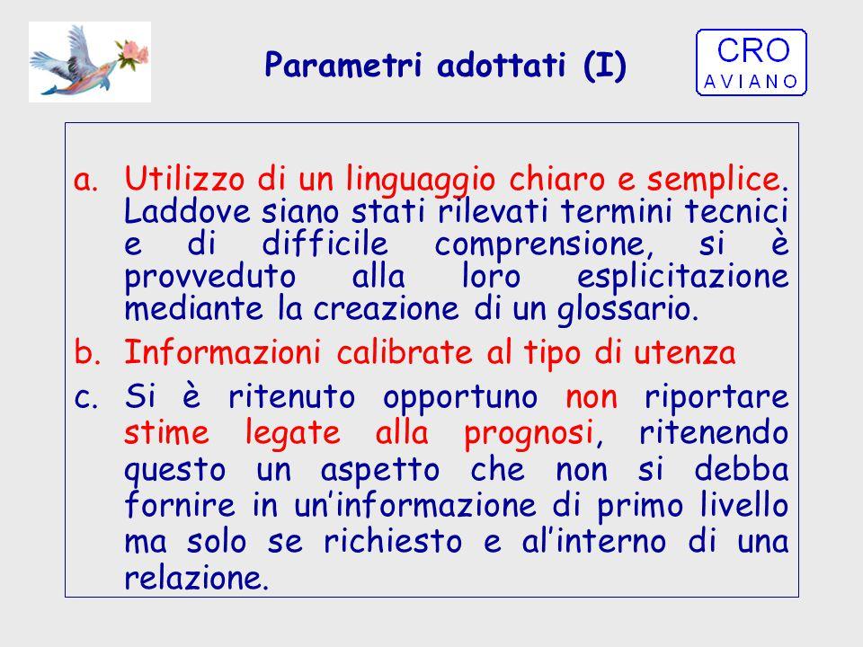 Parametri adottati (I) a.Utilizzo di un linguaggio chiaro e semplice. Laddove siano stati rilevati termini tecnici e di difficile comprensione, si è p