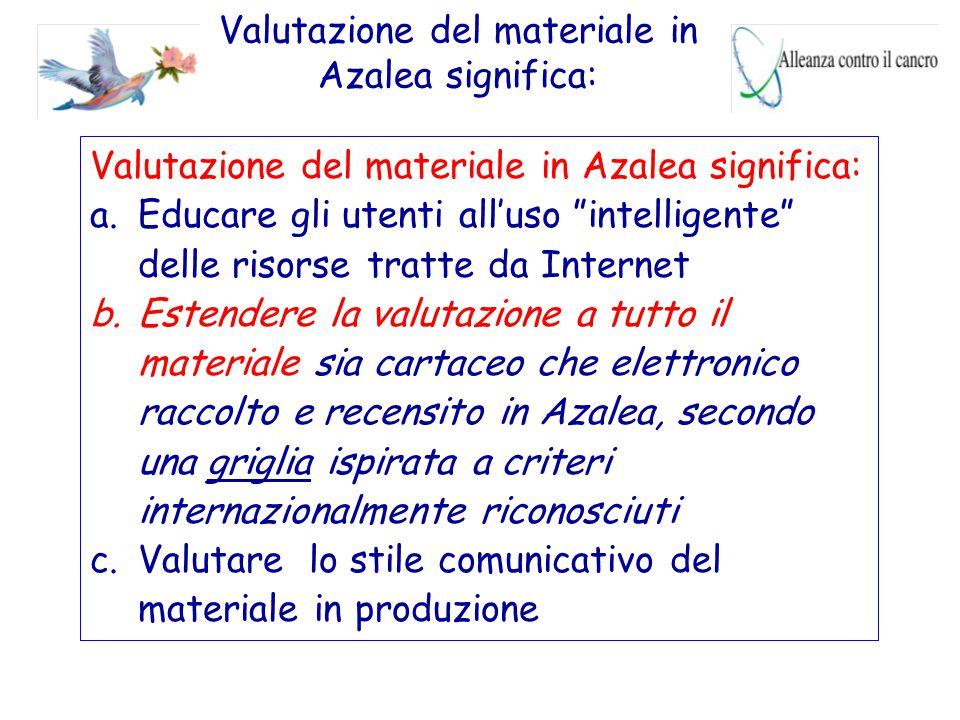 """Valutazione del materiale in Azalea significa: a.Educare gli utenti all'uso """"intelligente"""" delle risorse tratte da Internet b.Estendere la valutazione"""