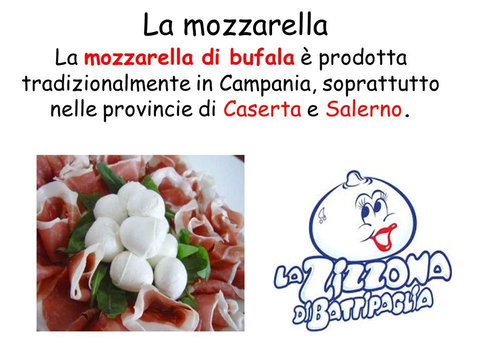 La mozzarella La mozzarella di bufala è prodotta tradizionalmente in Campania, soprattutto nelle provincie di Caserta e Salerno.