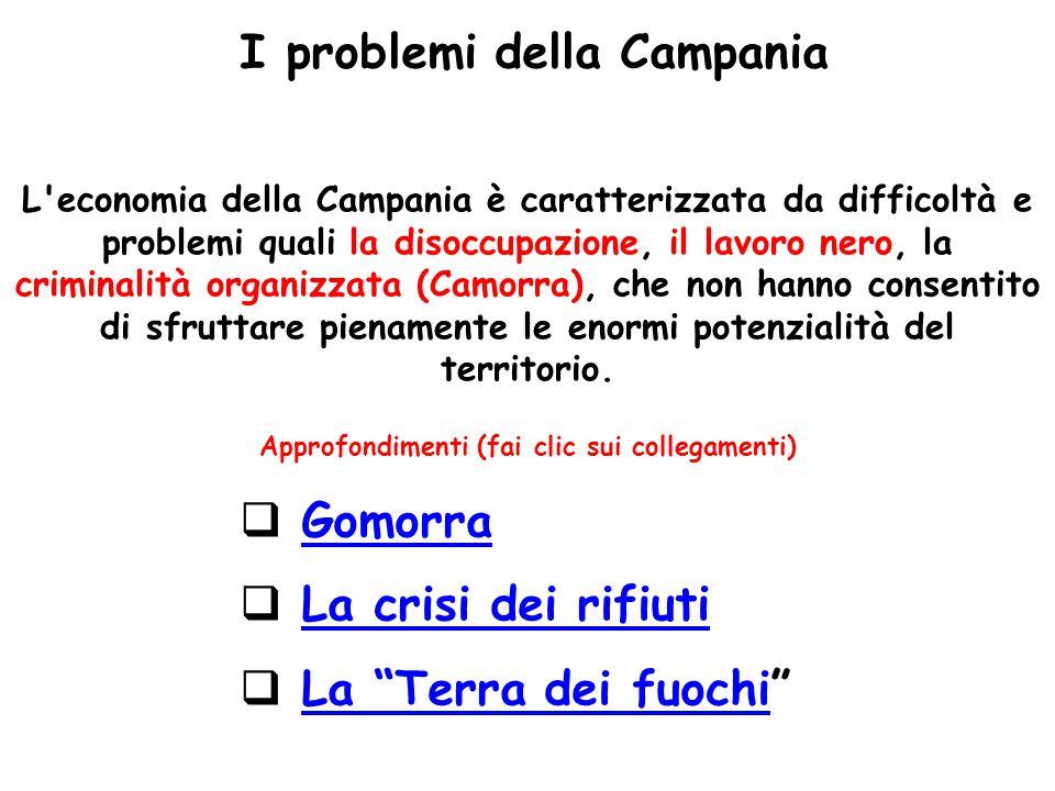 L'economia della Campania è caratterizzata da difficoltà e problemi quali la disoccupazione, il lavoro nero, la criminalità organizzata (Camorra), che